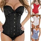 Womens Waist Training Brocade Boned Black Lace Bustier Basques Corset Xmas Sale