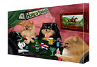 Pomeranians Dogs Poker Art Wrapped Canvas Wall Hanging Décor NWT