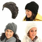 SKI HAT LADIES CHUNKY CABLE KNIT WOOLY WARM WINTER BEANIE WOMENS ADULT