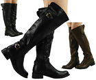 NEW WOMENS LADIES BUCKLE LOW HEEL KNEE HIGH RIDING FAUX LEATHER BOOTS SHOES S