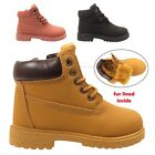GIRLS BOYS BOOTS CHILDRENS WINTER FUR LINED SHOES FLAT ANKLE WARM TRAINERS SIZE