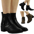 WOMENS LADIES CHELSEA BOOTIES LOW CUBAN MID HEEL ANKLE CASUAL BOOTS SHOES SIZE