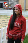Metis Hooded Sweater Etchiboy Fiddles Violins Red Alpaca Wool Bell Shape XS-XL