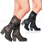 WOMENS LADIES HIGH HEEL CHUNKY KNITTED CUFF BUCKLE ZIP CALF BIKER BOOTS SIZE