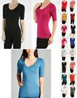 Womens 3/4 ELBOW Sleeve V NECK T-Shirt FITTED CASUAL COMFY Top REG N PLUS S-3X