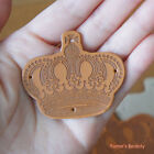 2pcs/ 10pcs: Imperial Crown Motif Synthetic PU Leather Label with Holes Handmade