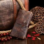 Men's Vintage Oil Wax Real Genuine Leather Bifold Wallet Purse Long Card Holder