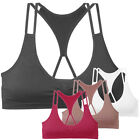 Cutout Strappy Padded Sports Bra Triangle Cageback Straps Activewear Athletic