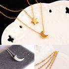 Fashion Gold and Silver Plated double Chain Moon Star Necklace for Women jewelry