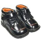 Boys Girls Toddler Faux Leather Squeaky Boots Shoes Black & Coloured Stitching