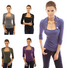 Women's Button Slim Boat Neck Long Sleeve Casual T-Shirt Top Blouse Hot Cheap