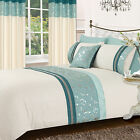 TEAL BLUE STYLISH FLORAL DIAMANTE FAUX SILK DUVET COVER LUXURY BEAUTIFUL BEDDING