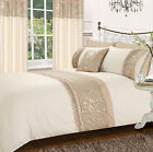 BEIGE STYLISH FLORAL DIAMANTE FAUX SILK DUVET COVER LUXURY BEAUTIFUL BEDDING