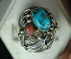 Native American Old Pawn Turquoise Coral 925 Sterling Silver Ring Size 12 # 8830