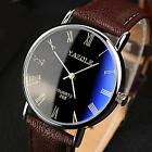 Fashion #G Stainless Steel Leather Men Military Sport Analog Quartz Wrist Watch
