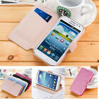 for Samsung Galaxy Skins Flip Luxury Slim Wallet Silk Leather Stand Case Cover