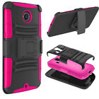 For Google / Motorola Nexus 6 - Dual Layer Phone Case Clip Holster & Kickstand