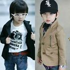 Boys Toddler High Quality Lapels Full Lined Button Up Jacket Coat 3-8 Y S033