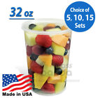 Внешний вид - 32oz Round Clear Plastic Deli Food/Soup Restaurant Storage Container Cup w/ Lids
