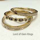 3 Wedding Ring Set! Blue Sapphire Diamonds Wedding Bands,14K Yellow gold Stack