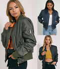 Ladies Girls Womens MA1 Bomber Jacket Classic Style Zip Up Biker Vintage Jacket