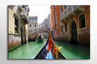 LARGE FRAMED CANVAS WALL ART VENICE ITALY CANAL BOATS CALMING STUNNING NEW PRINT