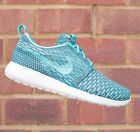 Nike Womens Roshe Run Flyknit Clearwater Blue/Dark Grey/White NEW! Size UK 4 5 6