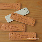 "5pcs/ 20pcs: Synthetic PU Leather Labels/ ""HANDMADE"" Bird & Flower Sewing Craft"