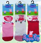 Peppa Pig Official Girls Pink White Cotton Socks x 3 Size 0/2 3/5 6/8 New