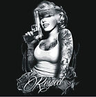 BRAND New MARILYN OUTLAW RESPECT TATTOO WITH GUN Black T-Shirts Small to 5XL