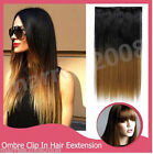 2 TONE ONE PIECE CLIP-IN HAIR EXTENSION DIP DYE OMBRE STRAIGHT HAIR FULL HEAD