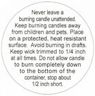 2-IN Round ~  BURNING CANDLE WARNING STICKERS LABELS CAUTION KIMMERIC