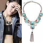 Women Vintage Bohemian Turquoise Tassel Pendant Collar Necklace Fashion Jewelr