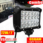 "72W 7"" Four Row Combo Offroad Work LED Light Bar Driving DRL SUV 4WD Boat Truck"