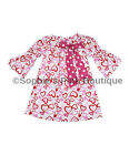 NWOT Toddler Girls Valentine Pink Heart Bow Dress Boutique Outfit Peasant