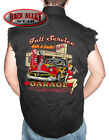 FULL SERVICE w/ SMILE PIN UP GIRL Sleeveless Denim Shirt Biker Cut Wrench Garage