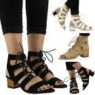 WOMENS LADIES ANKLE STRAP LOW BLOCK HEEL SHOES LACE UP CUT OUT SANDALS SIZE