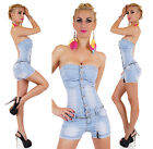 Sexy New Women's Summer Light Blue Bandeau Jeans Hotpants Jumpsuit Overall G 272
