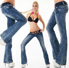 Sexy Women's Navy Wash Blue Bootcut Stretchy Jeans Trousers  Incl. Belt C 011
