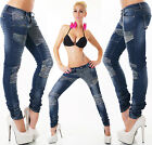 Sexy Women's Stylish Flowers Blue Jeans Trousers Skinny Hipsters Denim S 532