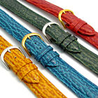 Shark Grain Padded Leather Watch Band Free Pins 16mm 18mm 20mm 4 Colours