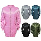 LADIES WOMENS MA1 SATIN ARMY MILITARY FLIGHT VINTAGE RETRO BOMBER LONG JACKET