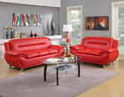 The Room Style Contemporary Bonded Leather Sofa Loveseat Set 2 Piece Sofa Set