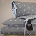 100%COTTON Cot Bed Duvet Cover Set Girls Boys Grey Stripes Stars Mint piping