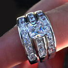 3 pc Sterling Silver Engagement Wedding Ring Set Princess Cut 14K Gold Plated
