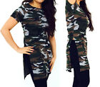 New Womens Ladies Camouflage Army Print Side Split Long Top Mini Dress 8-14