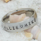 Personalized Name Ring~6mm width~Engraved Silver S/Steel~ boyfriend~girlfriend