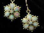 E036 Genuine 9ct SOLID Gold NATURAL Solid Opal Daisy Drop Dangle Earrings Flower