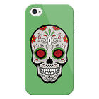 Sugar Skull Red Roses Snap on Hard Protective iPhone 4 Case Cover