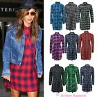 LADIES WOMENS CHECK TARTAN PRINT SHIRT BELT BUTTON COLLAR LONGLINE DRESS TOP
